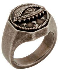 Roberto Cavalli Lucky eye symbol ring - Mettallic