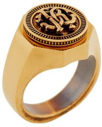 Roberto Cavalli Rc Monogram Coin Ring - Metallic