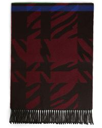 Roberto Cavalli Geometric Wool Jacquard Fringe Scarf - Red
