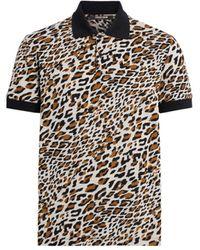 Roberto Cavalli Spiky Leopard Polo Shirt - Brown
