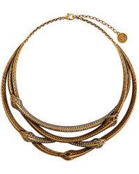 Roberto Cavalli Overlapping Snake Necklace - Metallic