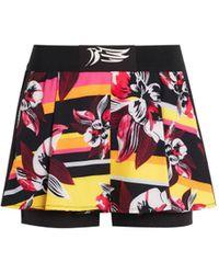 Roberto Cavalli Floral Print Overlay Shorts - Black
