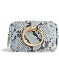 Roberto Cavalli Snake Print Leather Belt Bag - Blue