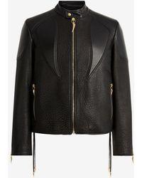 Roberto Cavalli Tiger Tooth Leather Jacket - Black