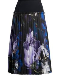 Roberto Cavalli Marchito Print Pleated Skirt - Black