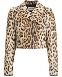 Roberto Cavalli Heritage Jaguar Cropped Leather Jacket - Multicolor