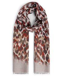 Roberto Cavalli Ikat Leopard print scarf - Mehrfarbig