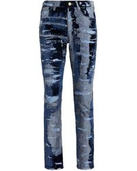 Roberto Cavalli Skinny jeans aus samt mit ausbrennermuster - Blau