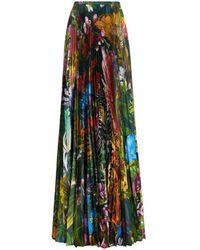 Roberto Cavalli Paradise Found-Print Pleated Skirt - Mehrfarbig