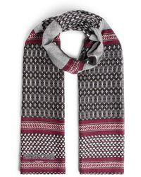 Roberto Cavalli Chain Stripe Cotton And Modal Scarf - Black