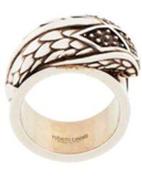 Roberto Cavalli Engraved Snake Head Ring - Metallic