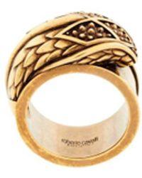 Roberto Cavalli Crystal Engraved Snake Head Ring - Metallic