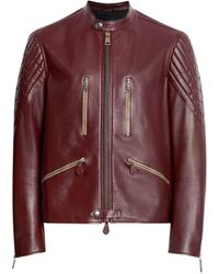 Roberto Cavalli Carmine Zipped Leather Jacket - Purple