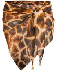 Roberto Cavalli Giraffe Chine Print Silk Pareo - Brown