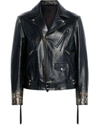 Roberto Cavalli Ikat Leopard Leather Biker Jacket - Black