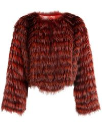 Roberto Cavalli Chevron-patterned Silver Fox Fur Coat - Red