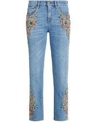 Roberto Cavalli Embroidered Low-rise Jeans - Blue