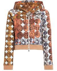 Roberto Cavalli Stripes & Coins Print Zipped Hoodie - Multicolor