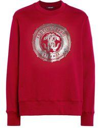 Roberto Cavalli Es Sweatshirt mit Metallic-Logo - Rot