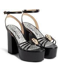 Roberto Cavalli Snake-effect panther head platform sandals - Schwarz
