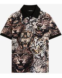 Roberto Cavalli Queen Of Arizona-print Cotton Polo Shirt - Black