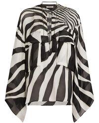 Roberto Cavalli Kaftan mit Zebra Avantgarde Print - Schwarz