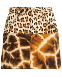 Roberto Cavalli Giraffe Chine And Leopard Print Denim Skirt - Multicolor