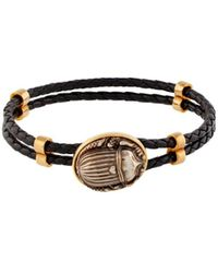 Roberto Cavalli Scarab Beetle Woven Bracelet - Brown