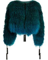 Roberto Cavalli Tasseled Mongolian Fur Jacket - Black