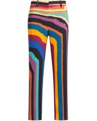 Roberto Cavalli Chameleon Rug Print Tailored Pants - Blue