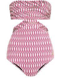 Roberto Cavalli Geometric Animal Print Swimsuit - Red
