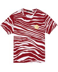 Roberto Cavalli T-Shirt mit Zebra-Print - Rot