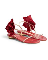 Roberto Cavalli Flower Embellished Leather Sandals - Red