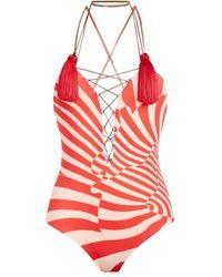 Roberto Cavalli Zebra Avantgarde Print Bodysuit - Orange