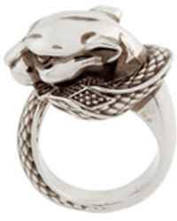 Roberto Cavalli Panther And Snake Ring - Multicolour