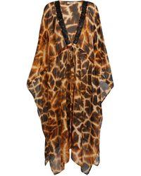 Roberto Cavalli Giraffe Chine Print Silk Kaftan - Brown