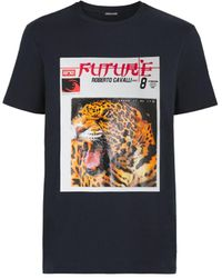 Roberto Cavalli Leopard Slogan Print T-shirt - Blue