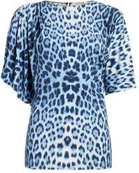 Roberto Cavalli Heritage Jaguar Print Asymmetric Top - Blue