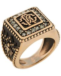 Roberto Cavalli RC monogram ring - Schwarz