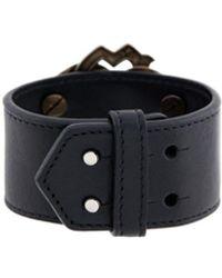 Roberto Cavalli Snake Logo Leather Cuff - Black