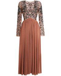 Roberto Cavalli Long V-neck Sequin Embroidered Dress - Brown