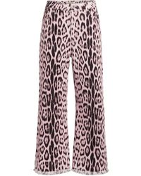 Roberto Cavalli Heritage Jaguar Print Cropped Jeans - Pink