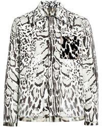 Roberto Cavalli Hemdjacke mit Luchs-Print - Weiß