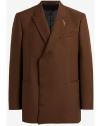 Roberto Cavalli Tiger Tooth Double-breasted Blazer - Brown