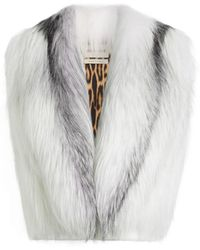 Roberto Cavalli Marbled Fox Fur Shrug Vest - White