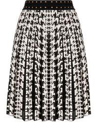 Roberto Cavalli Metallic Houndstooth Jacquard Skirt - Black