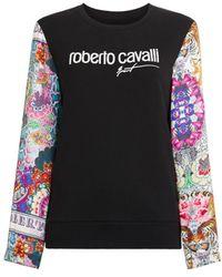 Roberto Cavalli Contrast Sleeve Logo Sweatshirt - Black