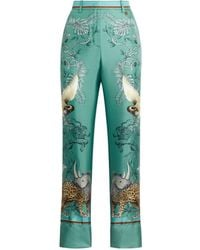 Roberto Cavalli Hybrid Animals Printed Trousers - Green