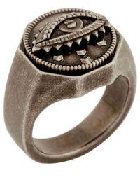 Roberto Cavalli Lucky Eye Symbol Ring - Metallic