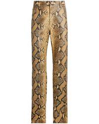 Roberto Cavalli Python-Print Straight-Leg Leather Trousers - Natur
